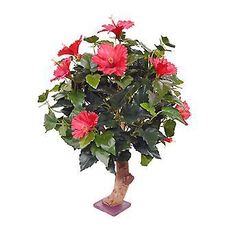 Kunstig Hibiscus plante 65 cm på base rød