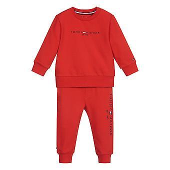 Tommy hilfiger baby jongens trainingspak rood kn0kn01357 xnl