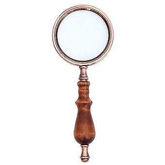 10X magnifying glass retro handheld magnifier wooden handle optical glass magnifying glass for reading coins repair work #35