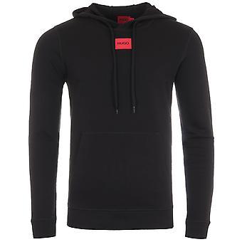 HUGO Logo Patch Sustainable Hooded Sweatshirt - Black