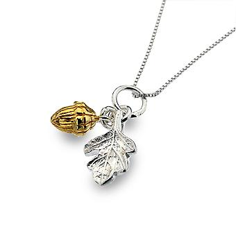 Sterling Silver Pendant Necklace - Origins Acorn + Oak Leaf + Gold Plated