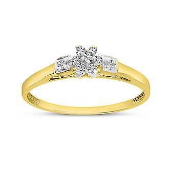 LXR 10K gul gulddiamant klusterring