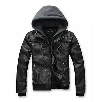 Mens Hooded Faux Leather Biker Jacket