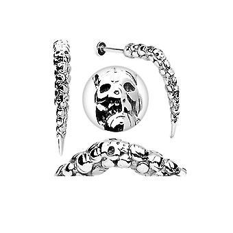 Labret lip ring artistic skull carved 14 gauge long claw spike 40mm long