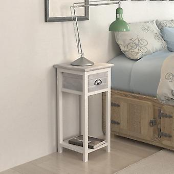 vidaXL nattbord med 1 skuff grå / hvit