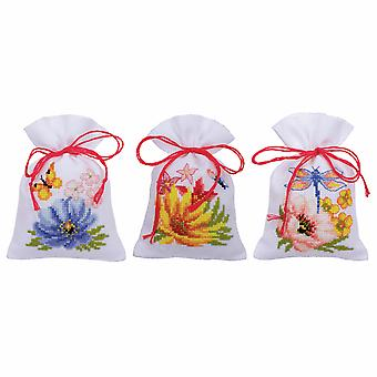 Vervaco عد عبر غرزة كيت: وعاء بوري حقيبة: الزهور الملونة: مجموعة من 3