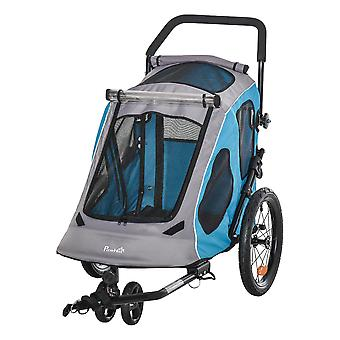 PawHut 2 IN 1 Dog Bicycle Trailer Pet Carrier Stroller 360° Rotatable Front Wheel Reflectors Parking Brake Straps Cup Holder Water Resistant Blue