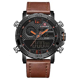 Luxury Brand Men Leather Sports Watches(Red)