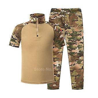 barn militære uniform taktisk kamp jakke bukser sett