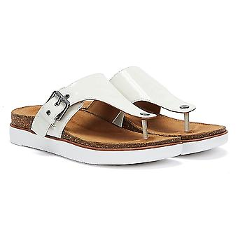 Clarks Elayne Step Patent Womens White Sandals
