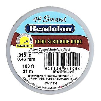 Beadalon Wire Standard Ljus 49 Strand .018 Tum / 100 Fot