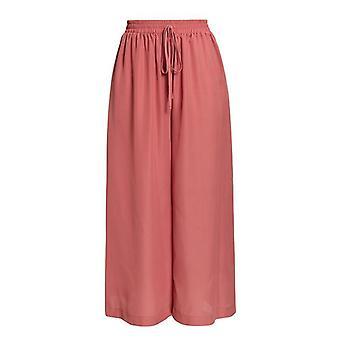 אלסטי High Waist רחב רגל תחרה מוצקה עד מכנסיים רחוב ללבוש מכנסיים
