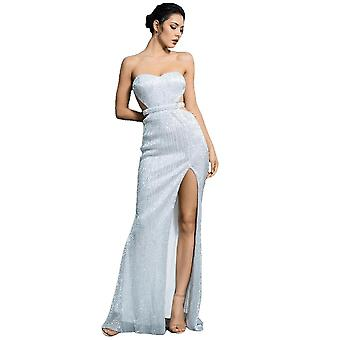 Silver Bra Open Back Back Pleated Sequins Slim Dress Party Long Dress