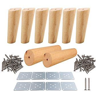 8pcs 15cm Height Wood Oblique Tapered Furniture Feets Tea Table Legs