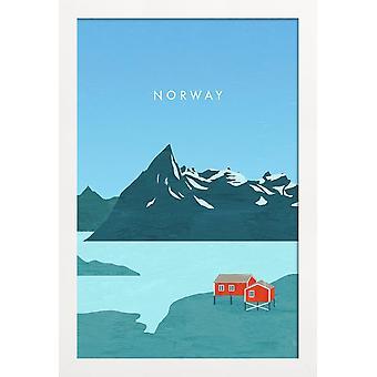 JUNIQE Print -  Norway - Vintage Reise Poster in Blau & Türkis