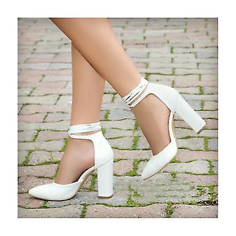 White Thick Long Heeled Shoes Leather Ra-040