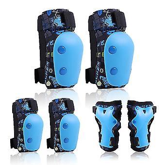 Blauwe s 6 in 1 kinderen fiets knie elleboogbeschermers set polsbeschermers cai788