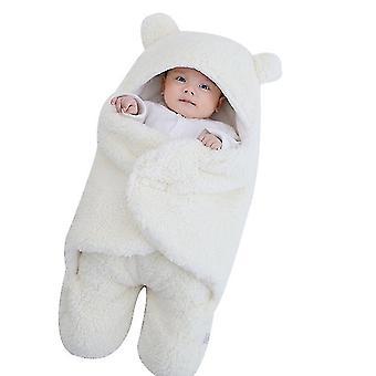 6M white cute bear organic newborn swaddle wrap x3698
