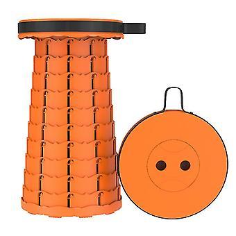 Orange outdoor folding telescopic stool, portable plastic stool for camping and fishing az16308