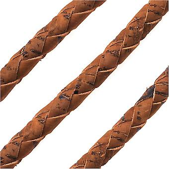 Portuguese Cork Cord by Regaliz, Round and Braided 6mm, Saddle Brown, by the Inch