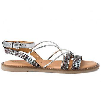 Tamaris Blauw en Zilver Python Print Flat Sandal Met Prijslijsten