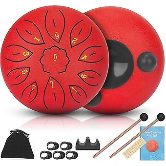 Steel tongue drums 11 notes 6 inch musical drum, metal hand drum percussion instrument with drum mallets