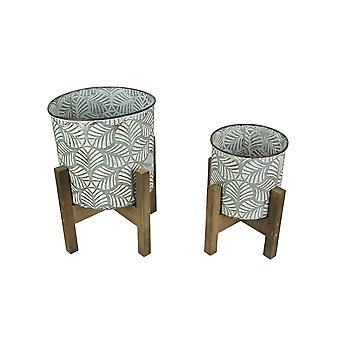Set of 2 White Leaf Tin Planters w/ Wood Stands Mid Century Modern Decorative Pots