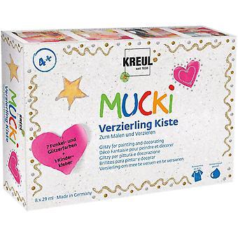24341 - Mucki Verzierling Kiste 7plus1, 7 x 29 ml Verzierlinge und 29 ml Kinderkleber, glitzernde