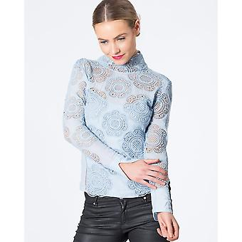 High Neck Long Sleeve Beaded Lace Top