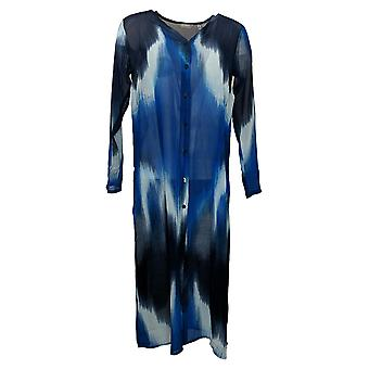 Lisa Rinna Collection Women's Sweater (XXS) Woven Duster Blue A351844