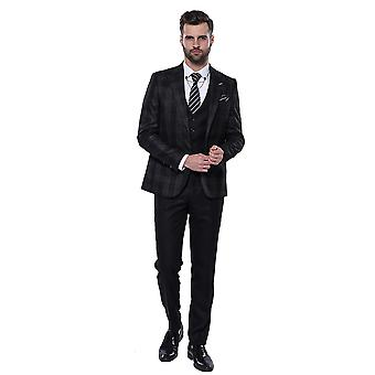 Musta puku ruudullinen bleiseri | Kävi koulua wessi
