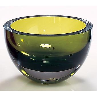 Moss Green Mouth Blown Polish Crystal Thick Walled Bowl