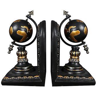 American Globe Bookend Resin Figurines Retro Globe Book Stand Model Miniature Ornaments Creative