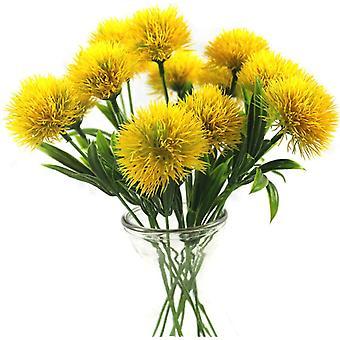 6 יח' שן הארי פרחים מלאכותיים צמחים זר פרח פלסטיק לקישוט הבית / עיצוב חתונה (ירוק)