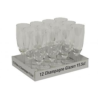 12 Piece Champagne Glass Set 15.5cl For Party Drink Barware Glasses