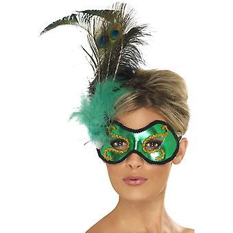 Σμαράγδι πράσινη μάσκα ματιών παγώνι με πλευρική εξωραϊσμό