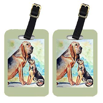 Carolines Treasures  7014BT Pair of 2 Bloodhound Momma's Love Luggage Tags