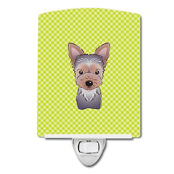Checkerboard Lime Green Yorkie Puppy Ceramic Night Light