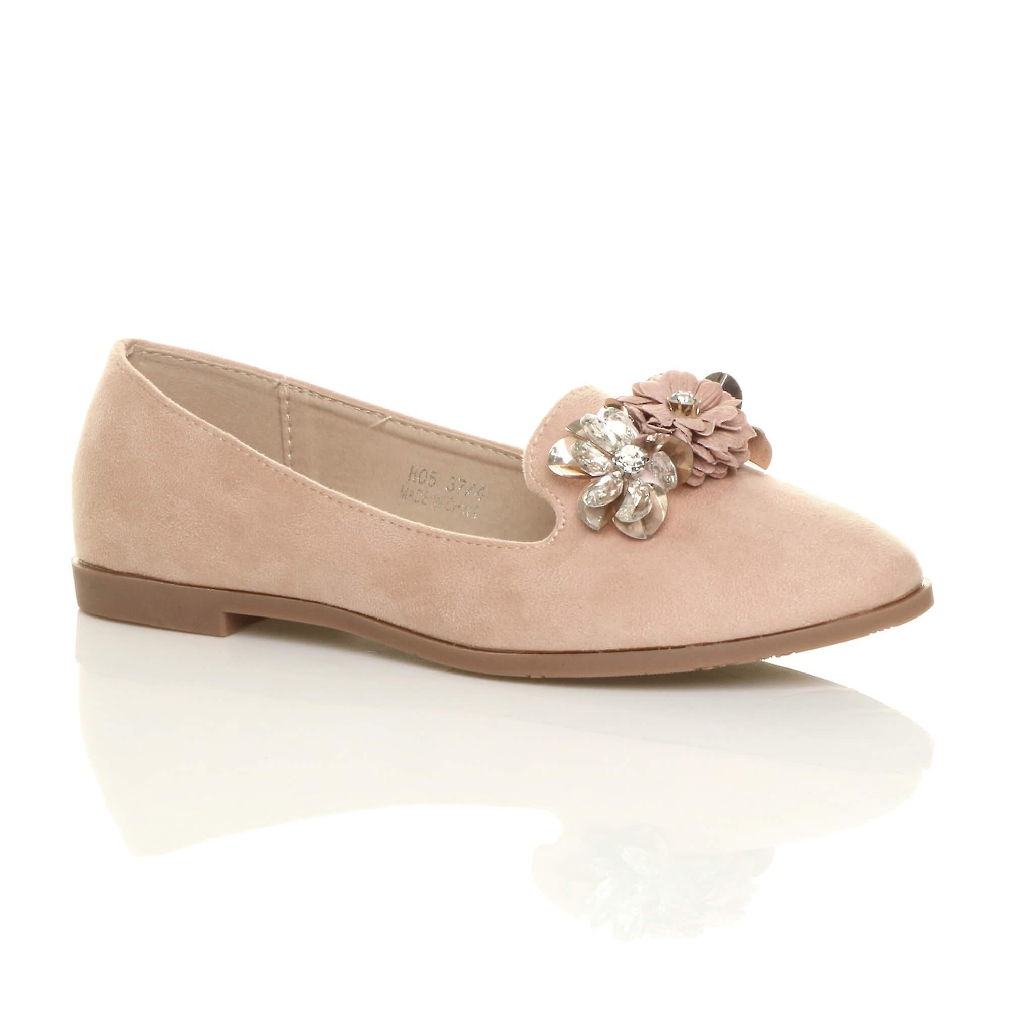 Ajvani damskie niskim kwiat diamante klejnot mokasyny balerinki czółenka dolly buty 3xlCZ