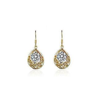 Bride Bridesmaid Gold White Hollow Teardrop Drop Earrings