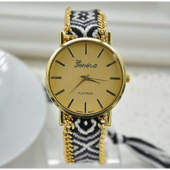 Ladies Geneva Gold Leopard Style Chain Watch With Material Strap BGWEAVE1