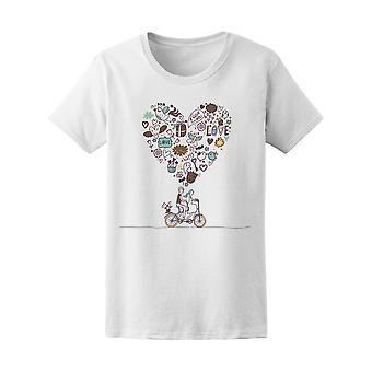 Heart Doodle romantyczna para kobiet Tee - obraz przez Shutterstock