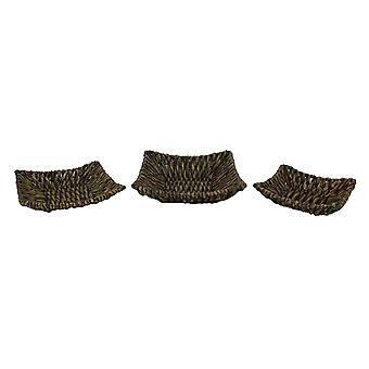 Set of Three Woven Seagrass Decorative Trays