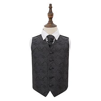 Charcoal harmaa Paisley häät liivi & Cravat Set pojille