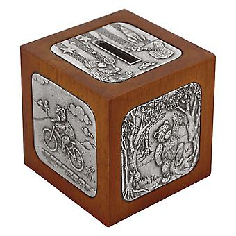 Childrens' Money Box  in Wood and Pewter