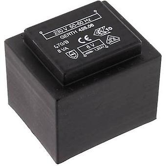 Gerth PTF420601 PCB mount transformer 1 x 230 V 1 x 6 V AC 8 VA 1333 mA