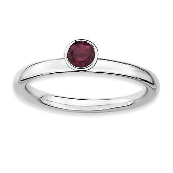 925 Sterling Silver Bezel Polished Rhodium-plated Stackable Expressions High 4mm Round Rhod. Garnet Ring - Ring Size: 5