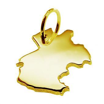 Släpvagn karta hängsmycken i guld gul-guld i form av Gabon