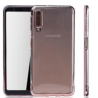 Cell phone case för Samsung Galaxy A7 2018 Ros Rosa - klart - TPU Silikon fall tillbaka täcka skyddande omslag i transparent / glansig edge Ros Rosa