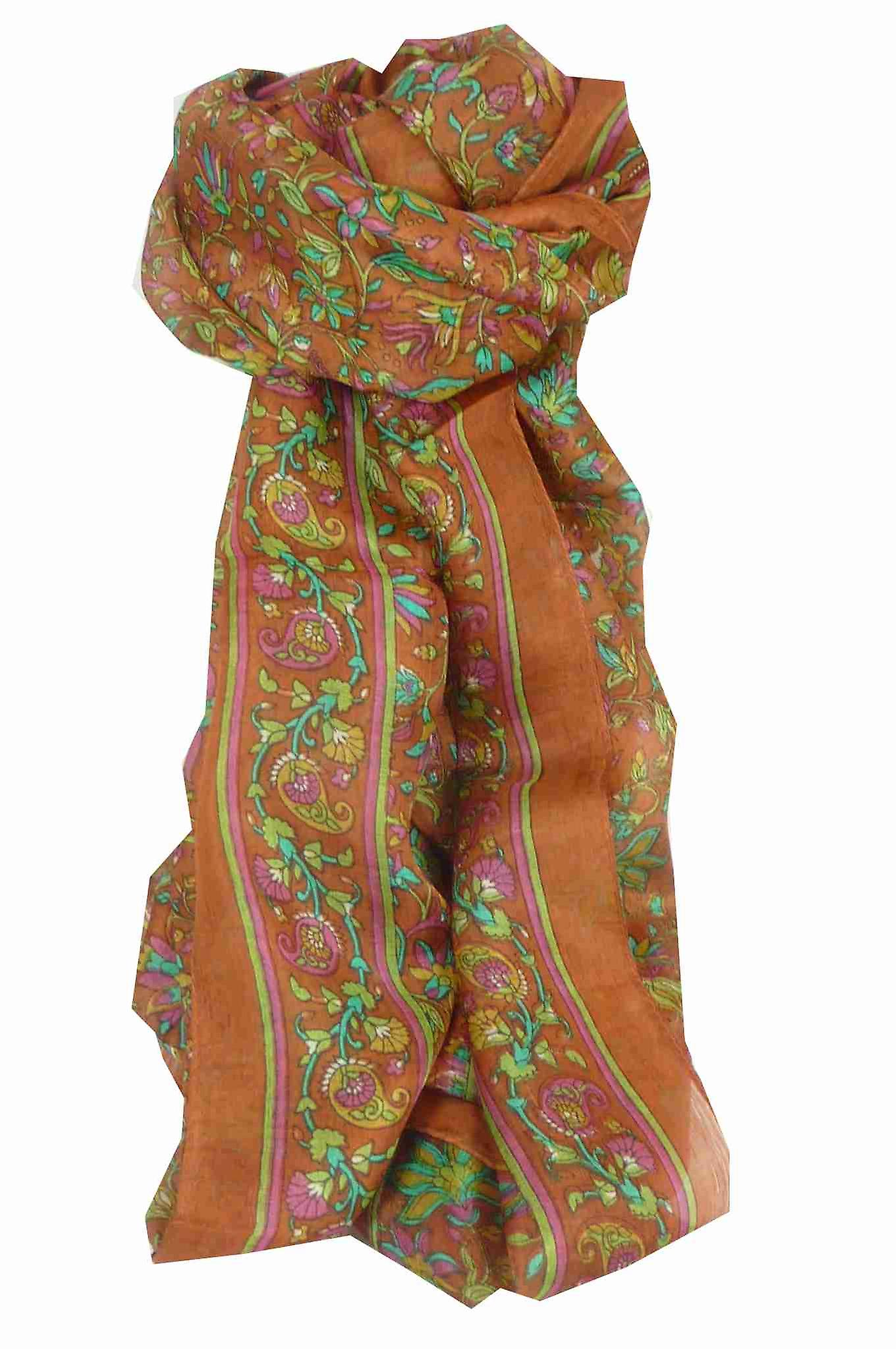 Mulberry Silk Traditional Long Scarf Wagh Terracotta by Pashmina & Silk